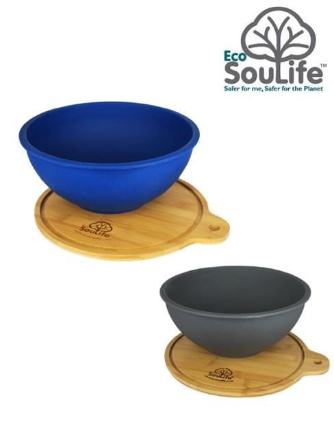Eco Sou Life,Salad Bowl with Bamboo Wood Cutting Board M,エコソウライフ,サラダボウルウィズバンブーカッティングボード M