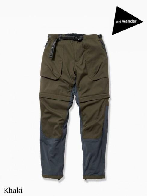and wander,アンドワンダー,W's trek 2way pants #Khaki,トレック2ウェイパンツ ウィメンズ #カーキ