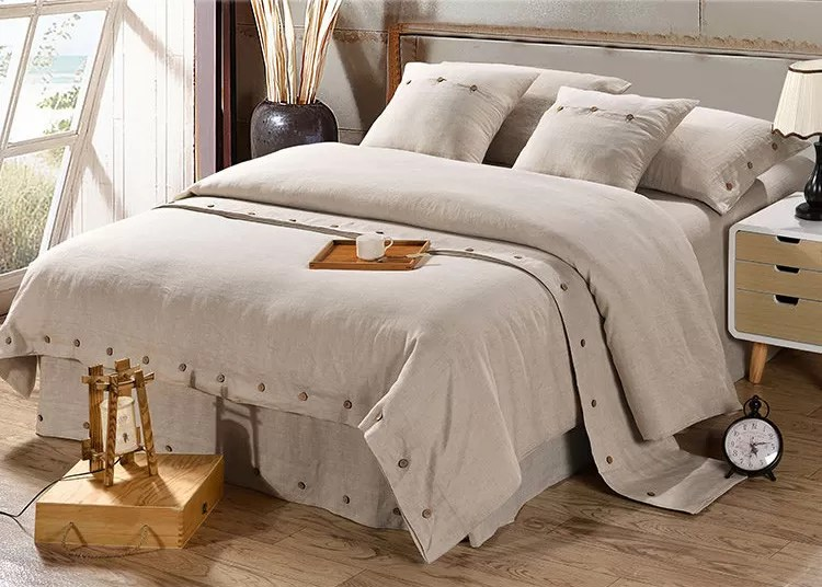 Pure Linen Wooden Buttons Modern Bedding Sets 4pcs Real