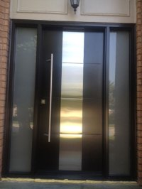 Modern Contemporary Front Entry Door - Frosted Glass and ...