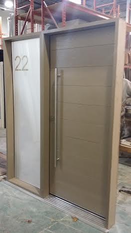 Fiberglass DoorModern Rustic Door beige color with Frosted Glass Side Lite  Stainless Steel