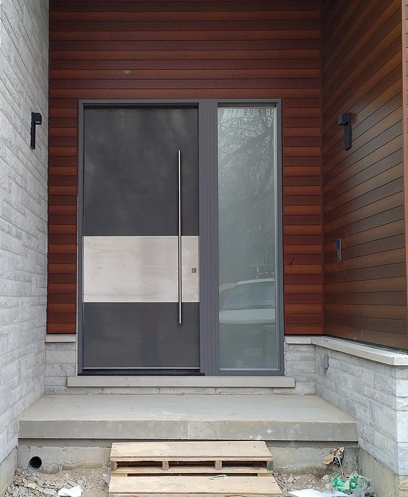 Modern Exterior 10 feet Door with Stainless Steel bar