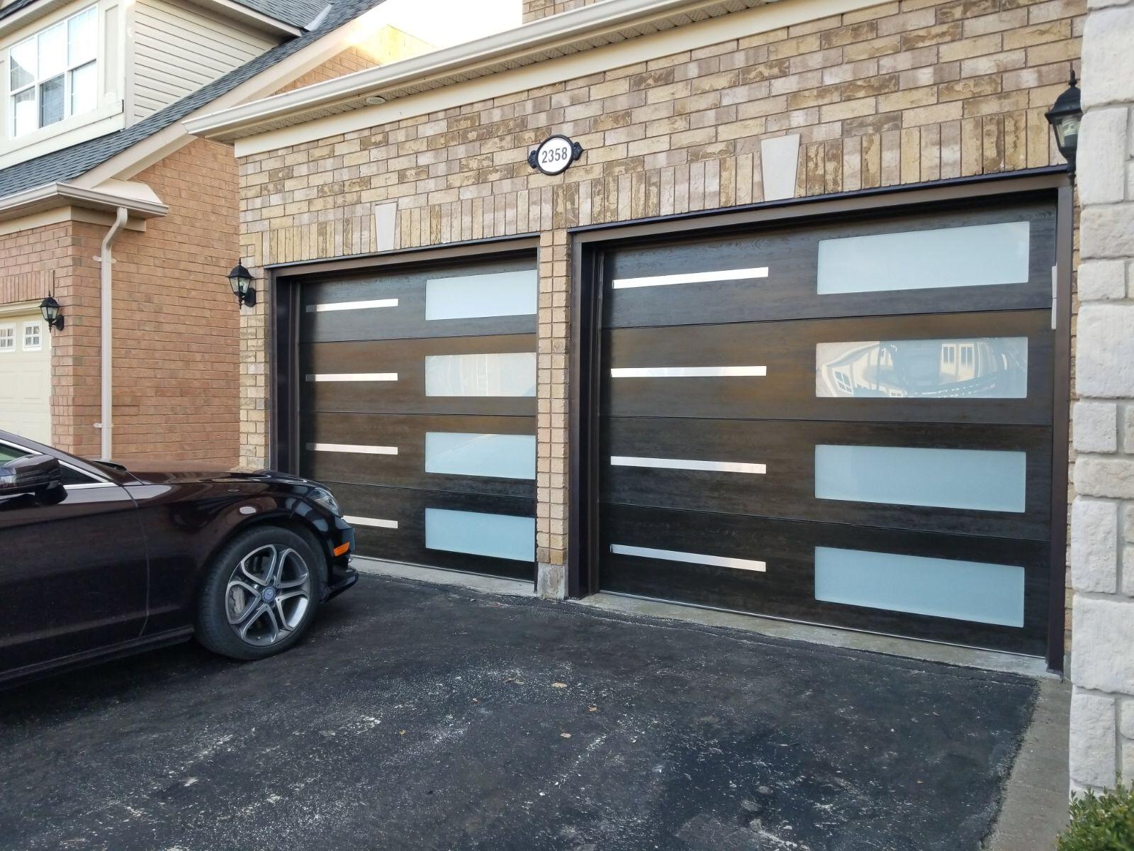 Modern Garage Doors   Stainless Steel   Glass Strip - Modern Doors