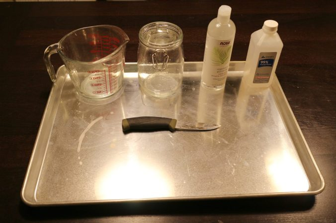 All the tools and ingredients needed for tanning snake skin