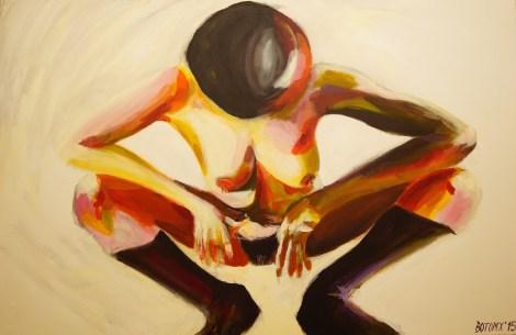 Kobieta w kontrowersyjnej pozie, obraz, Tomasz Boruch, akryl, abstrakcja, modernart, rzeszów, rzeszow, podkarpackie