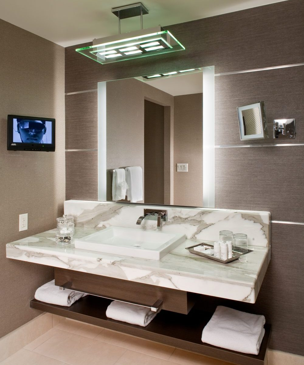 modern bath led mirror with two sides frosted area