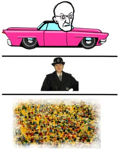 3 layers. At the top, Cummings driving a car. In the middle, a policewoman. At the bottom, a crowd of Lego people.