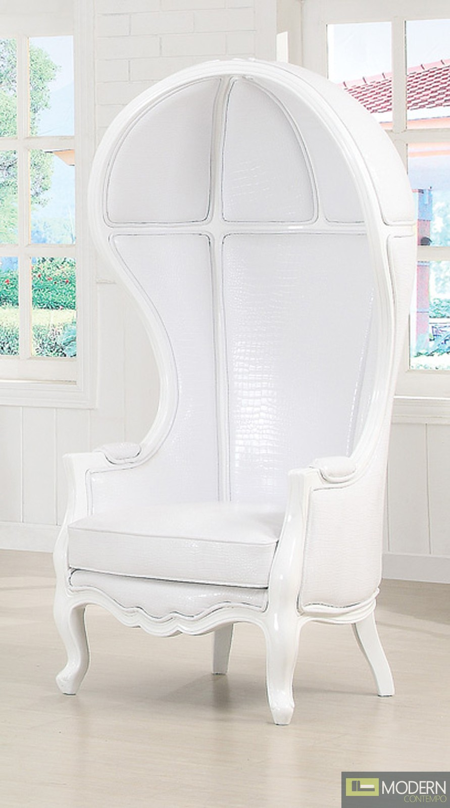 White Vinyl ANTOINETTE Victorian Balloon Canopy Accent Arm Chair