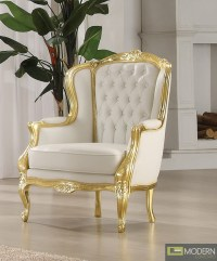 Gold/White Venice Victorian French Style Accent Wing Arm Chair