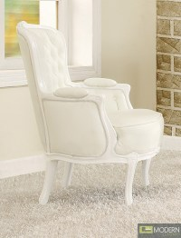 ATHENA White Button Tufted Victorian French Style Accent ...