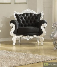Black/White ODESSA French Victorian Style Accent Arm Chair
