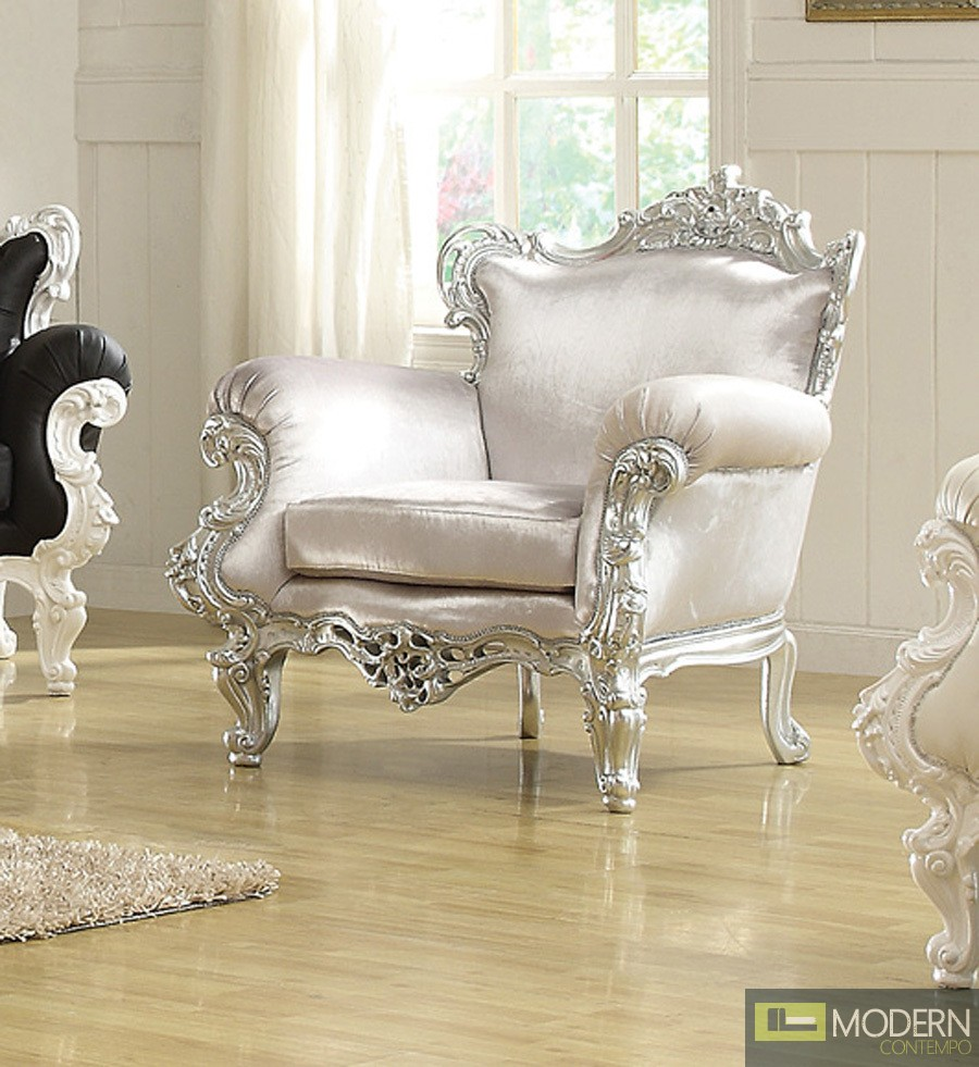 SilverSilver ODESSA French Victorian Style Accent Arm Chair