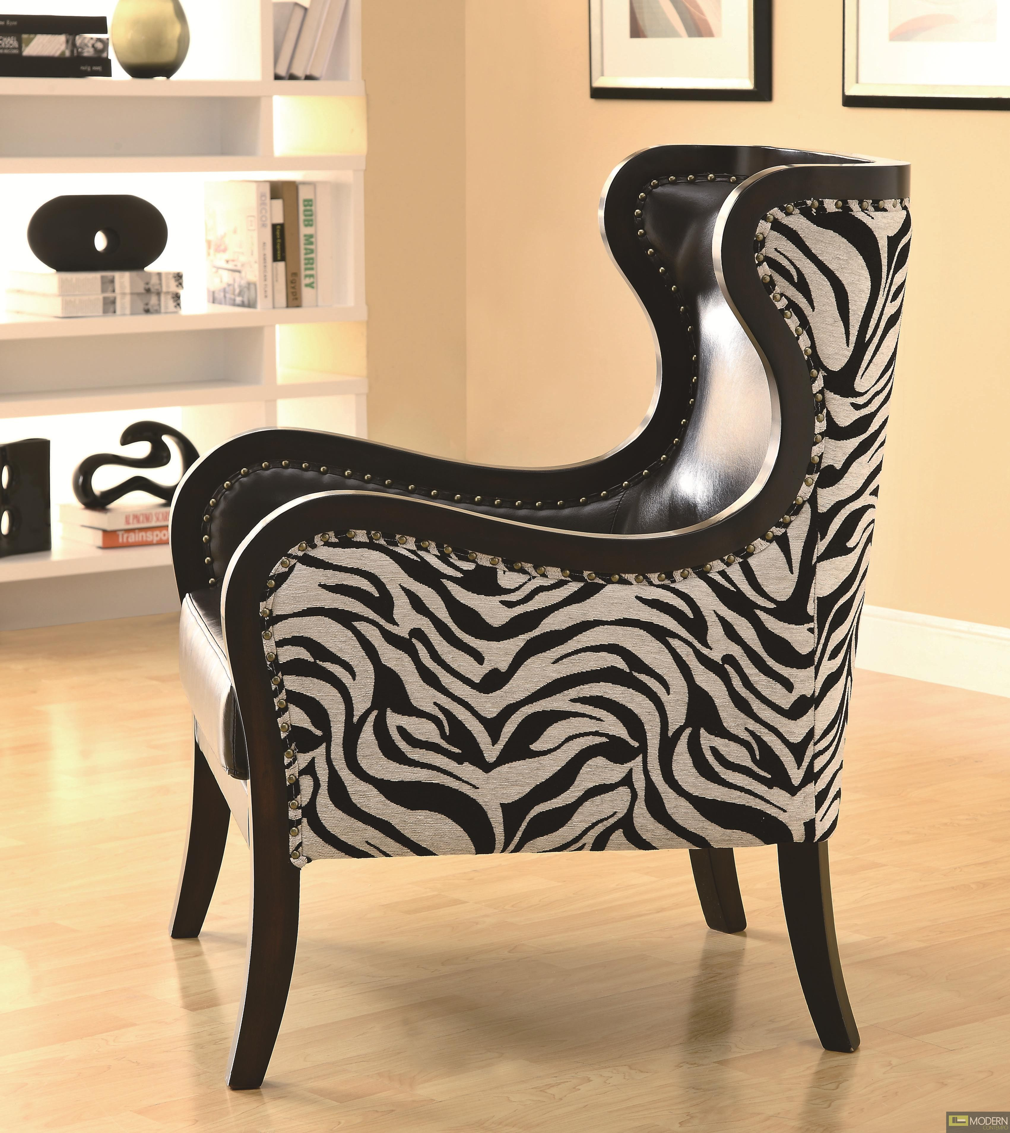 animal print accent chairs x back chair target celine exposed wood zebra with nailhead