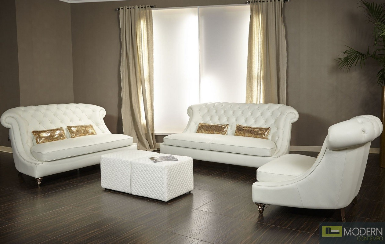 Maya Bellami Damario Tufted Leather 2PC Sofa Set