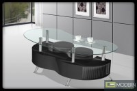 Modern Contemporary Tempered Glass Coffee Table with White ...