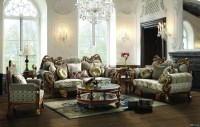 Leather & Fabric Traditional Sofa Set Formal Living Room ...