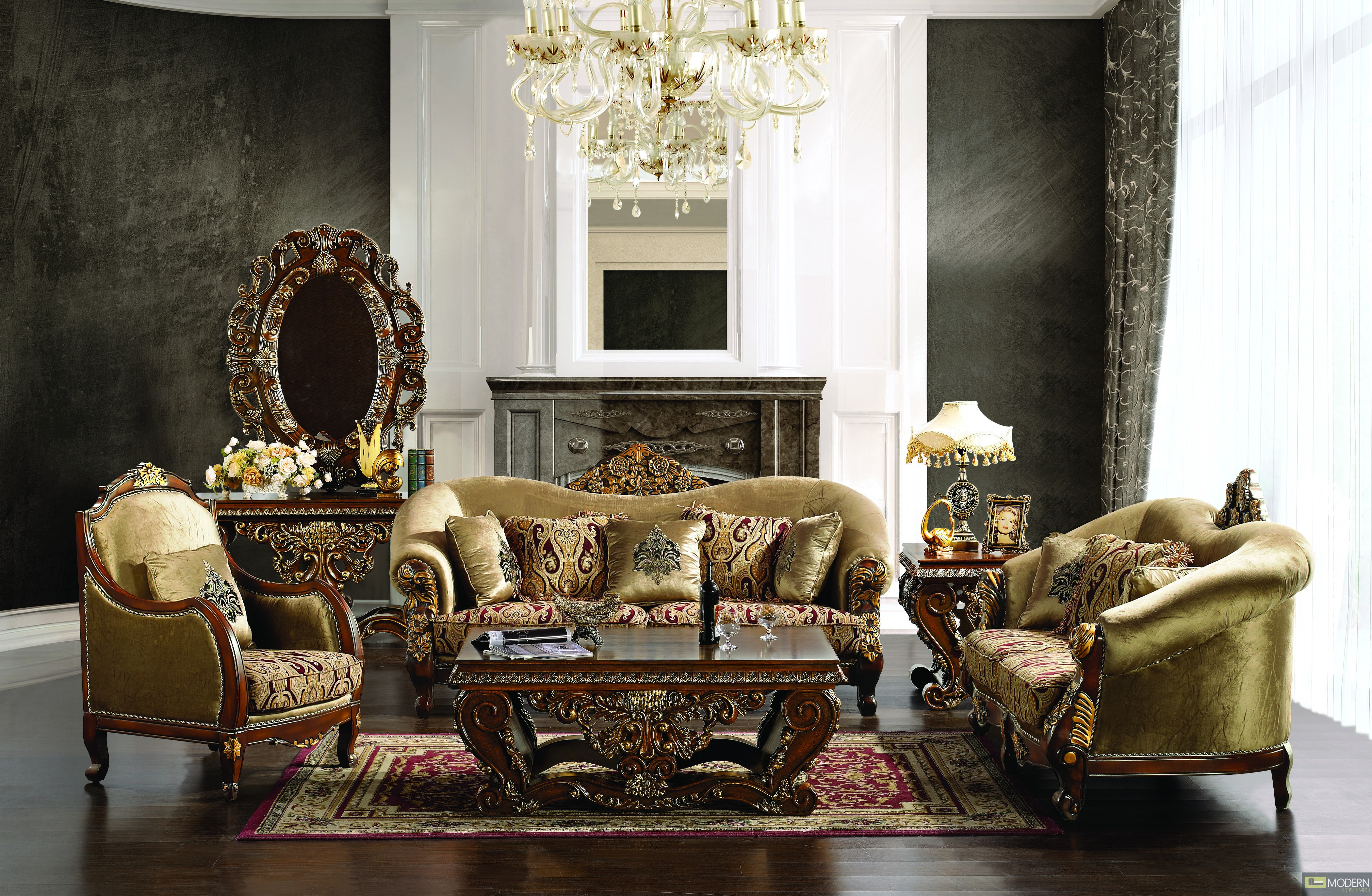 Luxury Sofa Love Seat  Chair 3 Piece Traditional Living Room Set MCHD379
