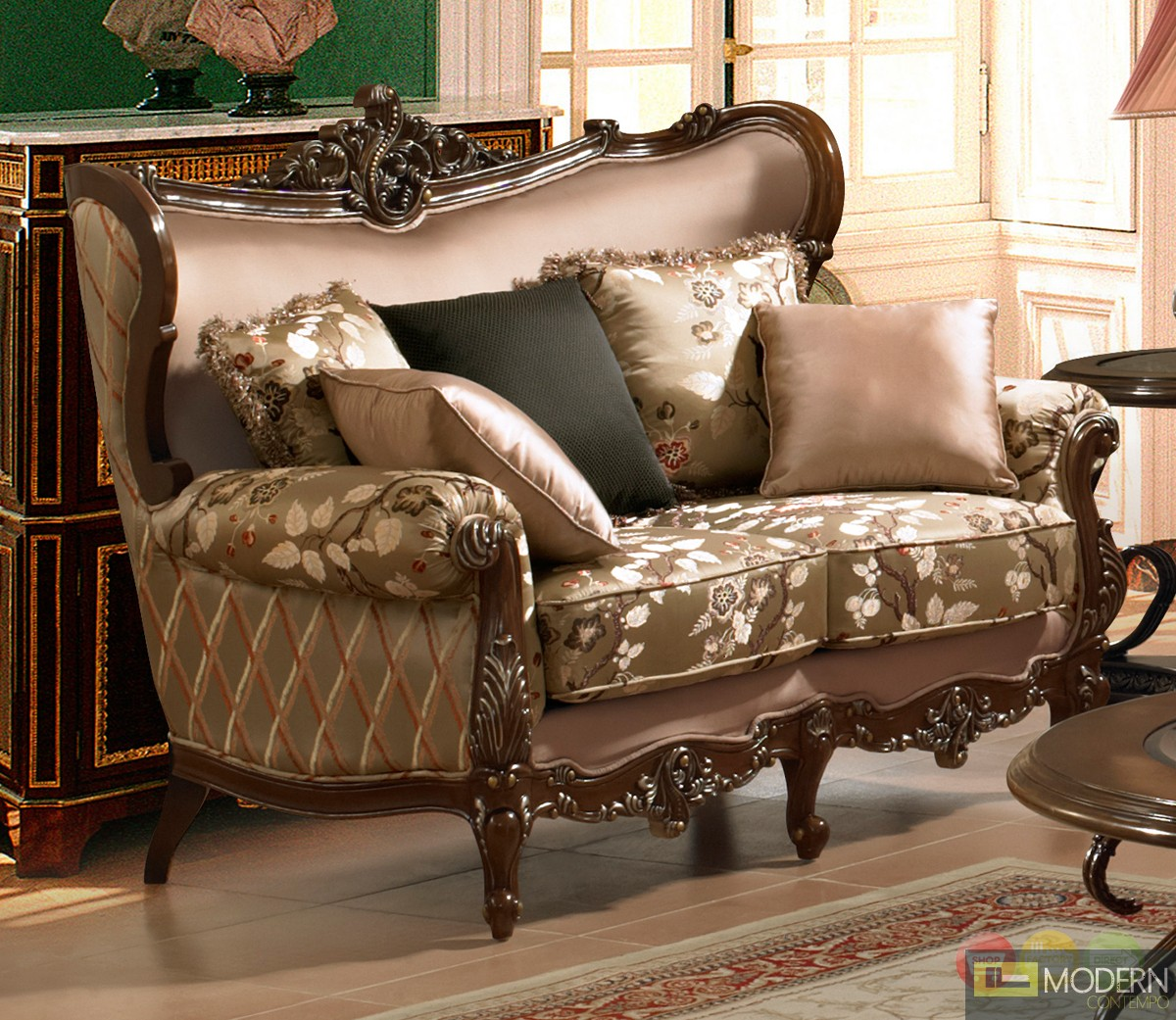 design of wood sofa set rug colors for brown luxurious traditional style formal living room furniture