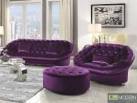 Sofa Purple Velvet Modern Purple Velvet Tufted Sofa With 2 ...