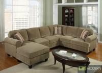 3 Pc Modern Brown Corduroy Sectional Sofa Living Room Set ...