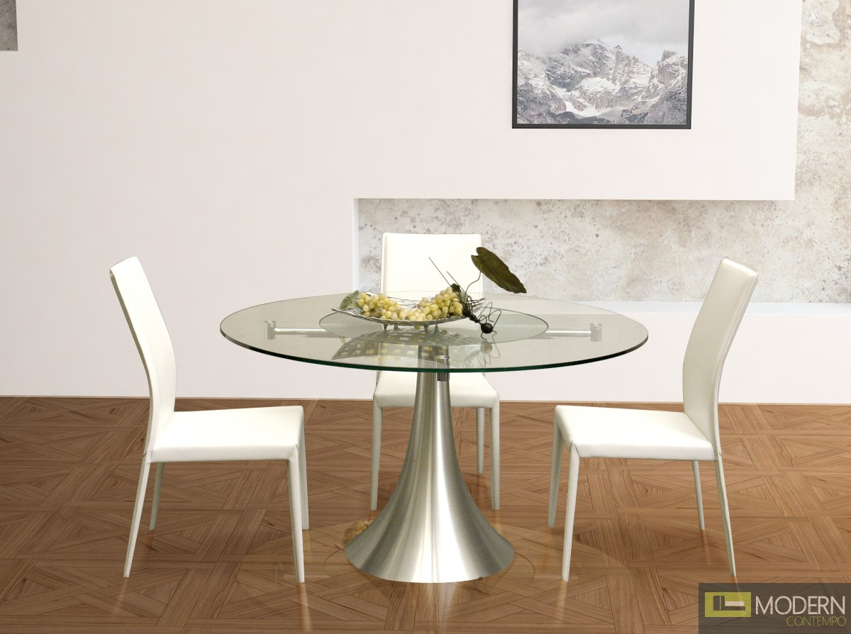 Sussie  Modern Round Glass Dining Table