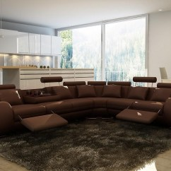 4087 Leather Sectional Sofa With Recliners Best For Pets Divani Casa Modern Brown