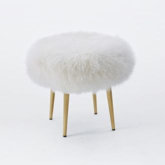 Shop: Shaggy White Stool / Modern Daydream Living