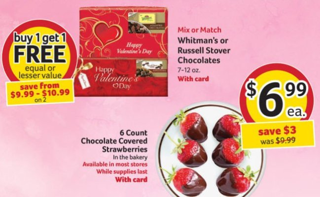 Winn Dixie Valentine's Day Special for Chocolates and Strawberries!