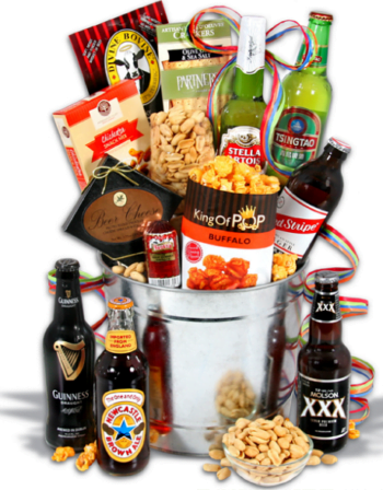 Gourmet Gift Baskets for Dad: Around The World Beer Bucket! #Ad