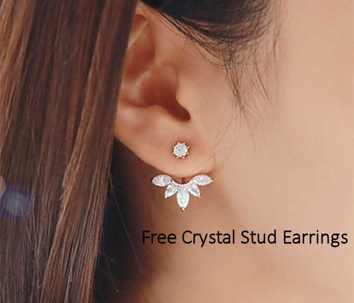 Free Palm Mute Korean Crystal Stud Earrings