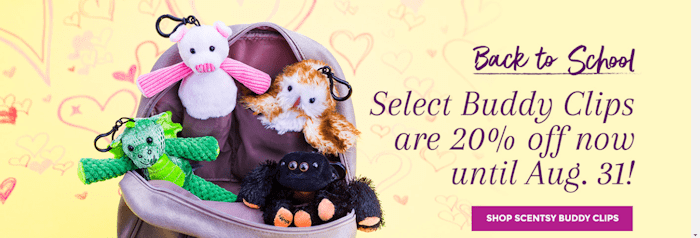 Hurry and Buy! Select Kids Scentsy Buddy Clips 20% off!