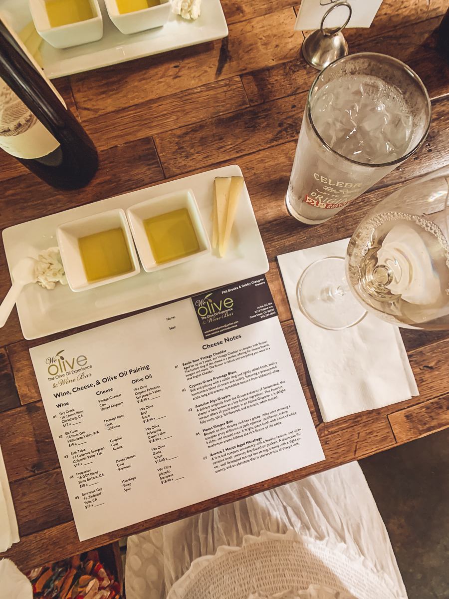 California Vacation Ideas for a Momcation in Orange County by popular Nashville travel blog, Modern Day Moguls: image of a menu at We Olive.