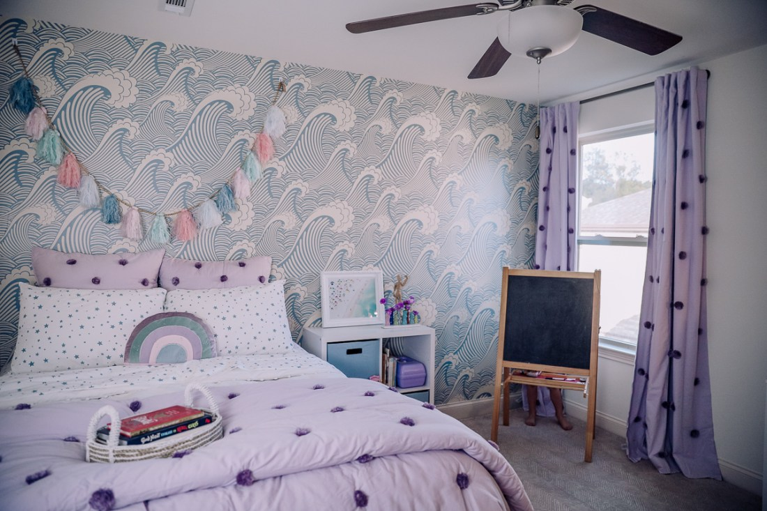 How to Install Removable Wallpaper by popular Nashville lifestyle blog, Modern Day Moguls.  Image of a bedroom with WallsNeedLove Waves of Chic removable wallpaper.