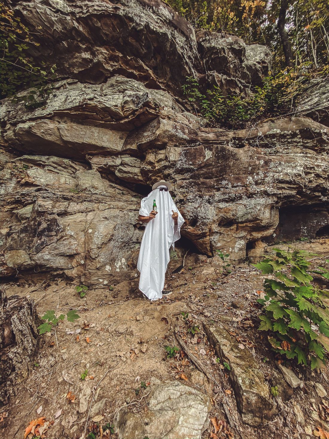 Glamping in Tennessee by popular Nashville lifestyle blog, Modern Day Moguls: image of a guy dressed up as a ghost.