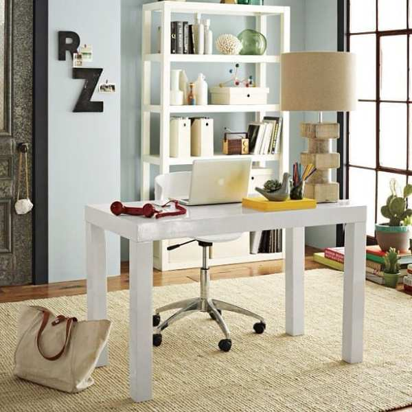Love everything about this room. White furniture, soft paint color. Desk.