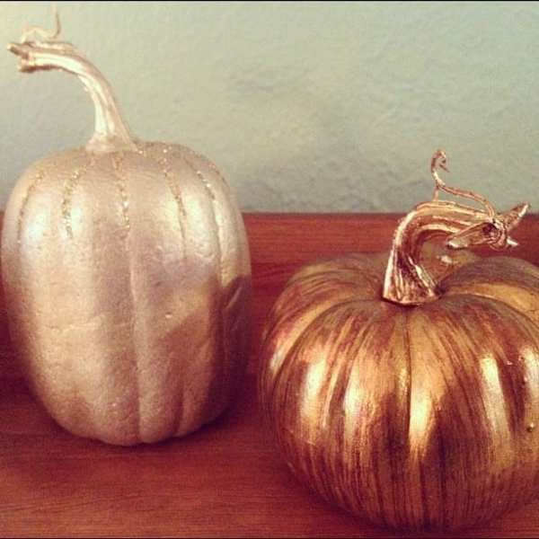 Spray paint mini-pumpkins for a fun metallic look. Love mixing and matching.