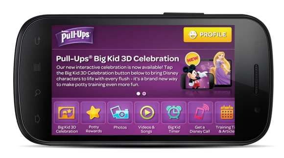The Pull-Ups(R) Big Kid App uses the most effective and innovative tools to make potty training fun - it's a blend of imagination and reality with 3D technology for kids, combined with the right resources for Moms, that literally fit into the palm of (both) their hands.