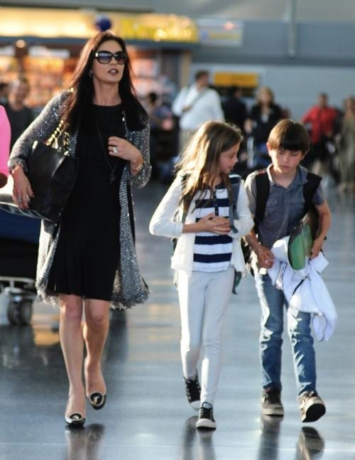 Catherine Zeta Jones and Her Kids Arrive at JFK