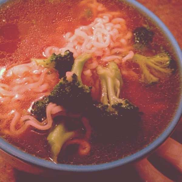 Late night ramen with broccoli and sesame oil? SHHH don't tell.