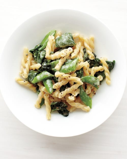 Pasta with Snap Peas, Basil, and Spinach