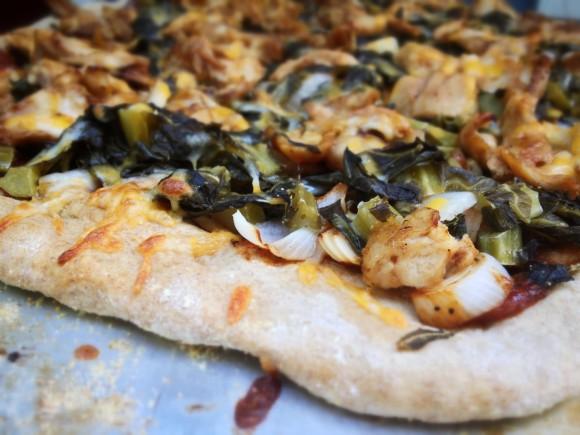 BBQ Chicken and Collard Green Pizza