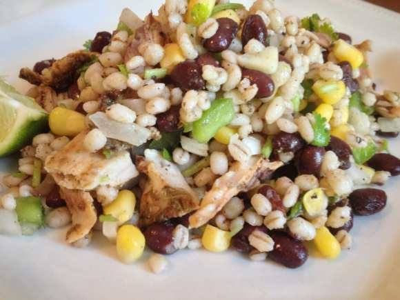Chicken, Black Bean and Barley Salad with Cumin Lime Dressing