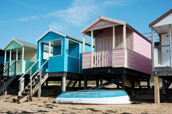 Colorful Beach Huts at Southend, Essex, UK