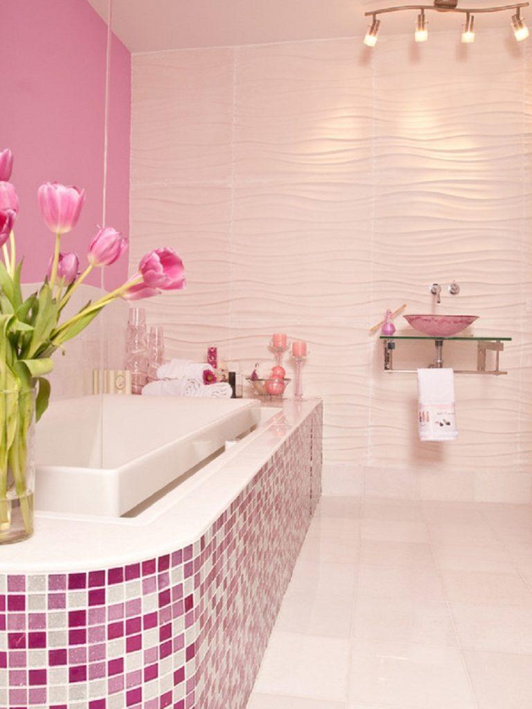 20 idees de salle de bain rose du carrelage aux murs