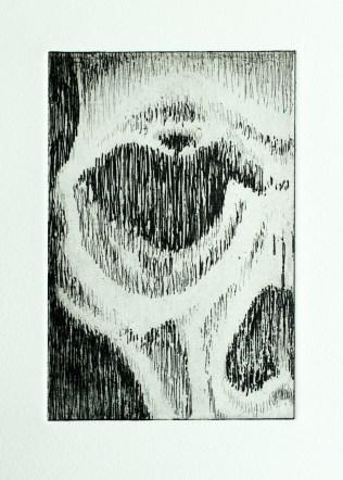 Skull hard ground etching