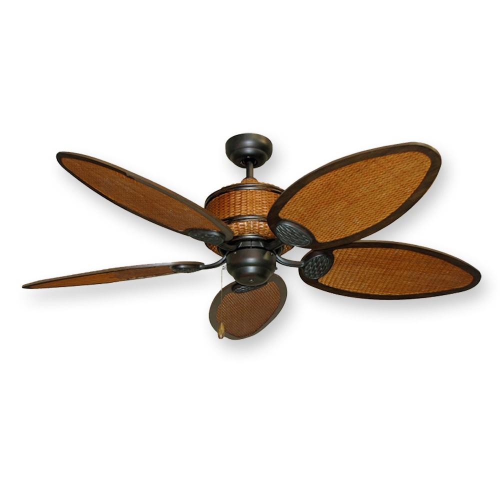 "Cane Isle Tropical Ceiling Fan  52"" Real Rattan Blades"