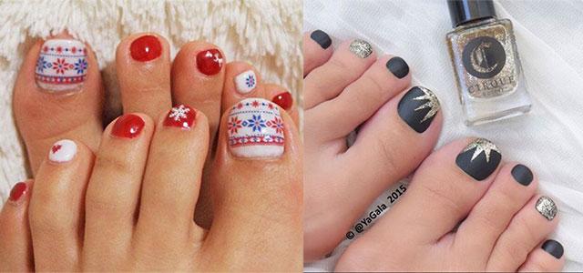 Easy Cute Winter Toe Nail Art Designs Ideas