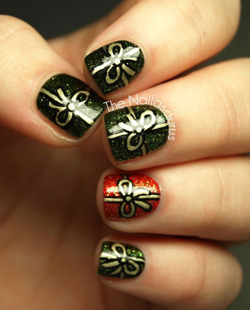 10+ Christmas Presents Nail Art Designs & Ideas 2017