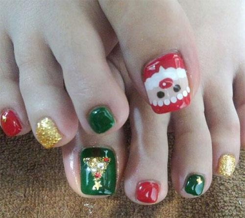 Merry Christmas Toe Nail Art Designs Ideas 2017