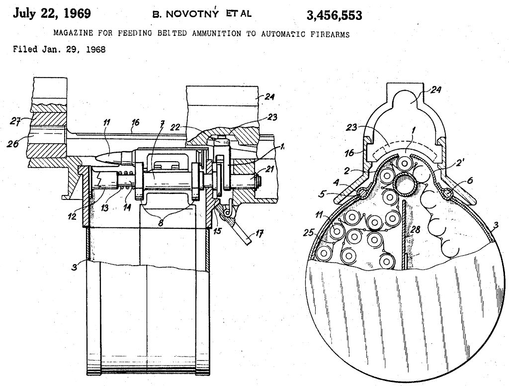 hight resolution of patent diagram for belt feed system used in urz rifle and machine gun